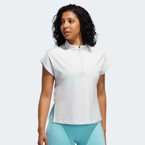 Adidas Half Zip Mesh Back White Work Out Shirt S